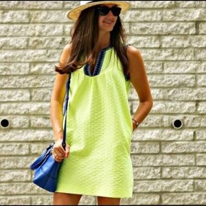 J. Crew Arrow Print Tribal Shift Dress Neon
